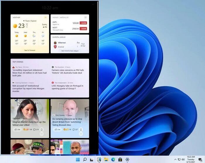 الـ Widgets - تسريب نظام ويندوز 11