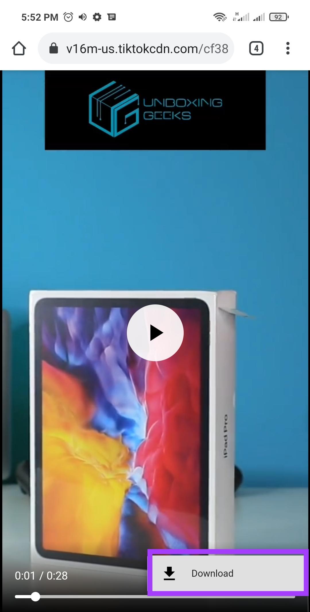 تنزيل الفيديو من خلال الزر الموضح على الشاشة