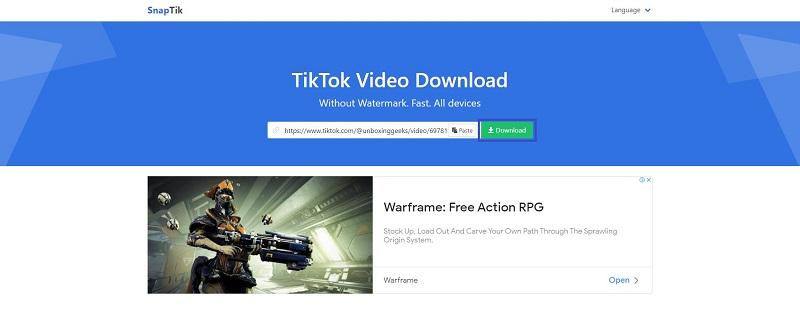 علامة Download على موقع Snaptik نسخة الديسكتوب