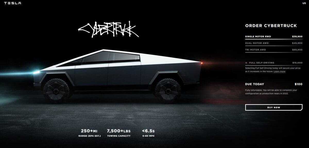 صفحة طلب المركبة - تسلا تؤجل إنتاج سايبر تراك إلى عام 2022