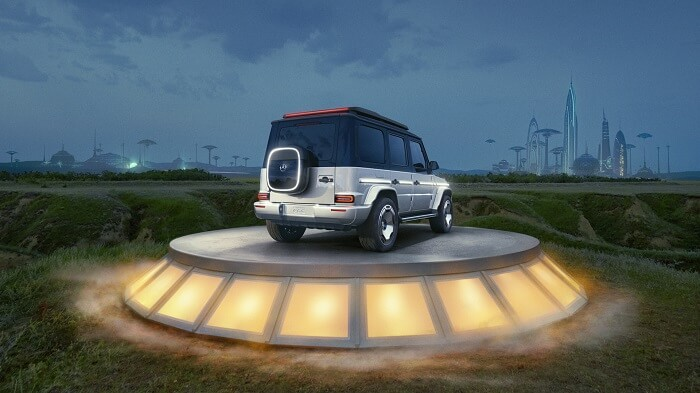 سيارة مرسيدس EQG الكهربائية من الخلف