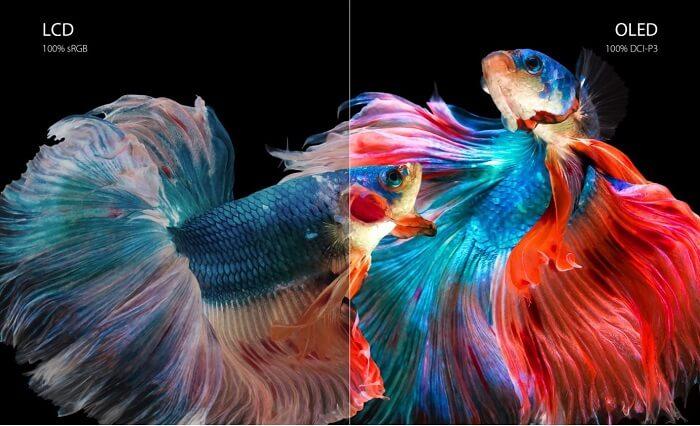 مقارنة التدرج اللوني بين شاشة الـ OLED وشاشة الـ LCD